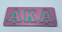 Alpha Kappa Alpha - Outlined Pink Mirror License Plate