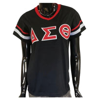 Delta Sigma Theta - V-Neck Striped (Black)