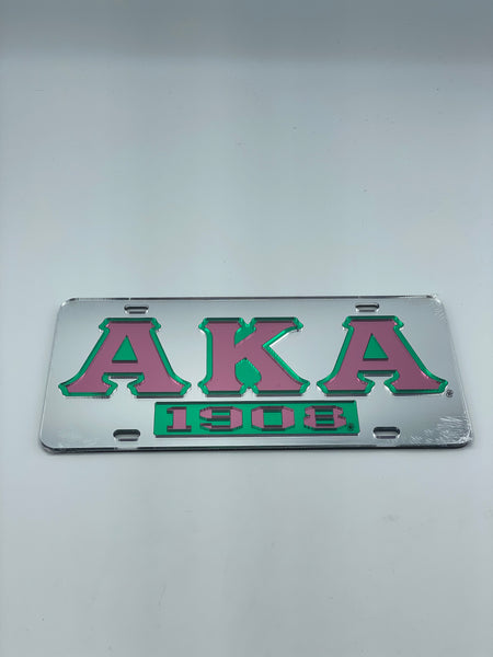 Alpha Kappa Alpha - 1908 w/Letters Mirror License Plate