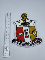 Kappa Alpha Psi - 10.5in Chenille Embroidered Shield Patch (Iron on)