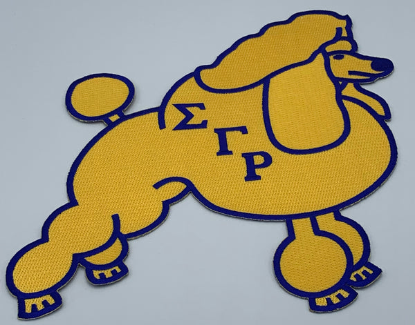 "Sigma Gamma Rho - 10"" Embroidered Poodle(Iron on) Patch"