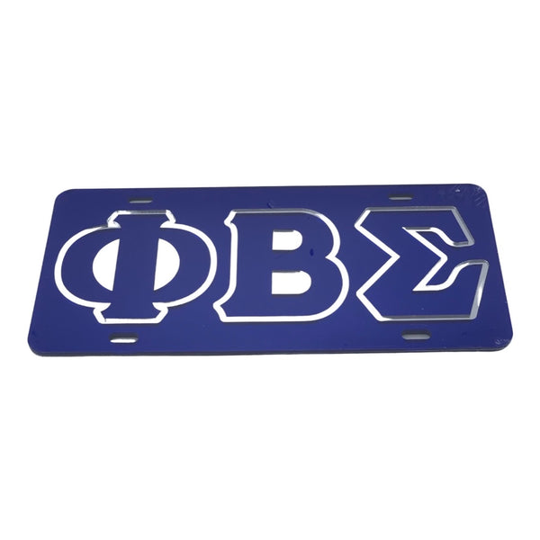 Phi Beta Sigma - Outlined Blue Mirror License Plate