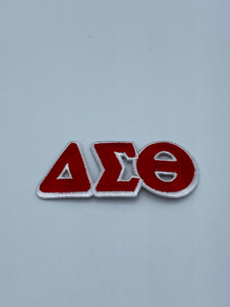 "Delta Sigma Theta - 3"" Long Embroidered Patch Connected Letter Set (Iron on)White"