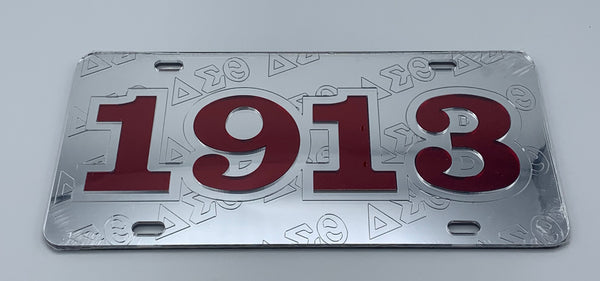 Delta Sigma Theta - 1913 w/Embossed Letters Mirror License Plate