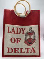 "Delta Sigma Theta - Pocket Jute Bag with Lady of Signature. 14"" w x 18"" h x 5"""