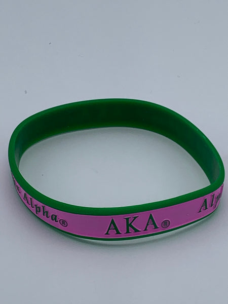 Alpha Kappa Alpha - Silicon Wrist Band (Striped)