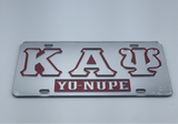 "Kappa Alpha Psi - ""Yo Nupe""w/Letters Mirror License Plate"