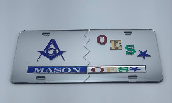 Mason/Order of The Eastern Star - Split Mirror License Plate