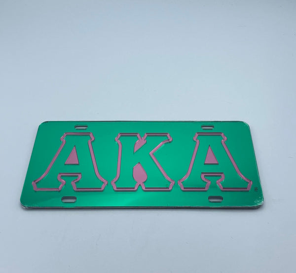 Alpha Kappa Alpha - Outlined Green Mirror License Plate