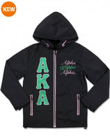 Alpha Kappa Alpha - Embroidered Windbreaker (Black)