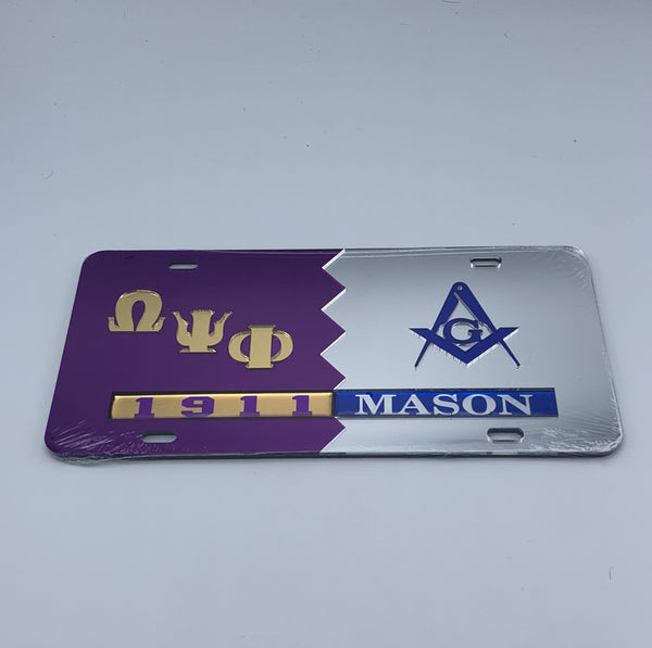 Omega Psi Phi / Mason - Split Mirror License Plate