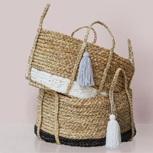 Bian White Tassel Basket - Short