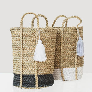 Bian White Tassel Basket - Tall