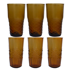 Freya Water Glasses (6 Assorted) - Amber