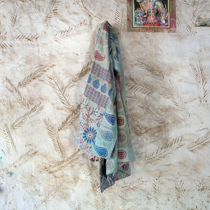 Vintage Kantha Throw - Blue