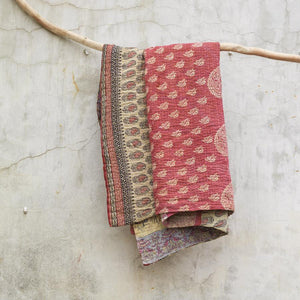 Vintage Kantha Throw - Pink