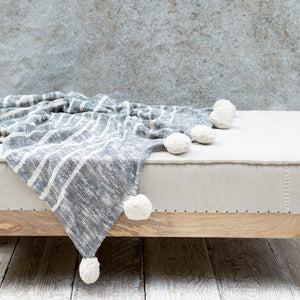 Rutna Pom Pom Throw - Grey