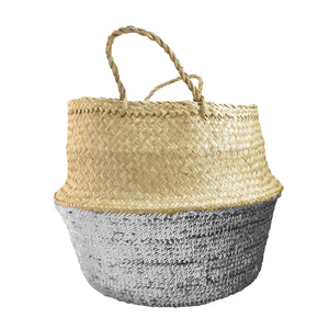 Toulouse Sequin Small Basket - Silver