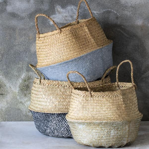 Toulouse Large Painted Basket - Coal