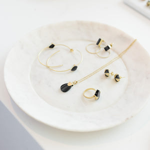Sona Gem Hoop Earrings - Black Oynx