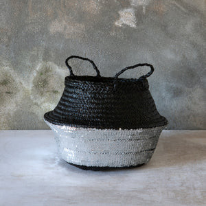 Black Toulouse Sequin Basket - Silver - Medium