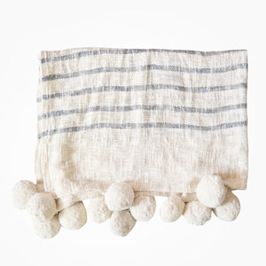 Rutna Pom Pom Throw - White