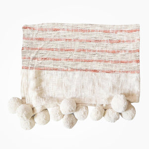 Rutna Pom Pom Throw - Terracotta