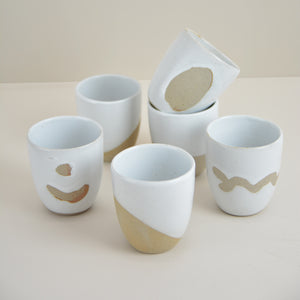 Dipped White Assorted Tea Cups (set of 6)