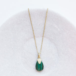 Anvi Gold Pendant - Malachite