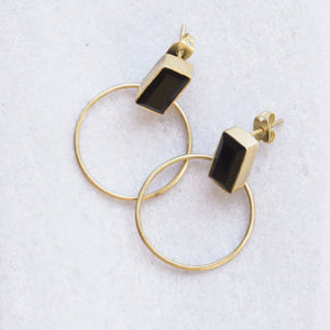 Baalee Gold Earrings - Black Oynx