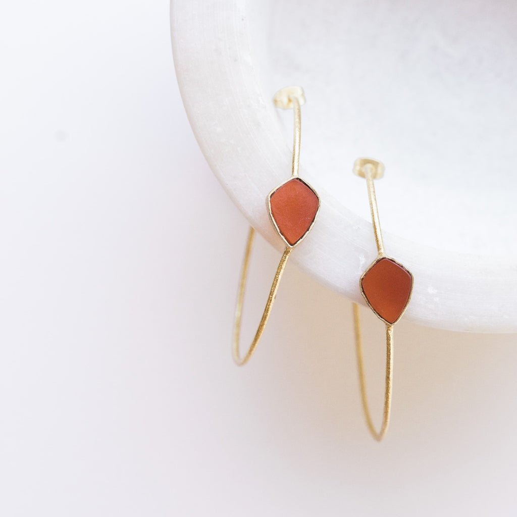 Sona Gem Hoop Earrings - Carnelian