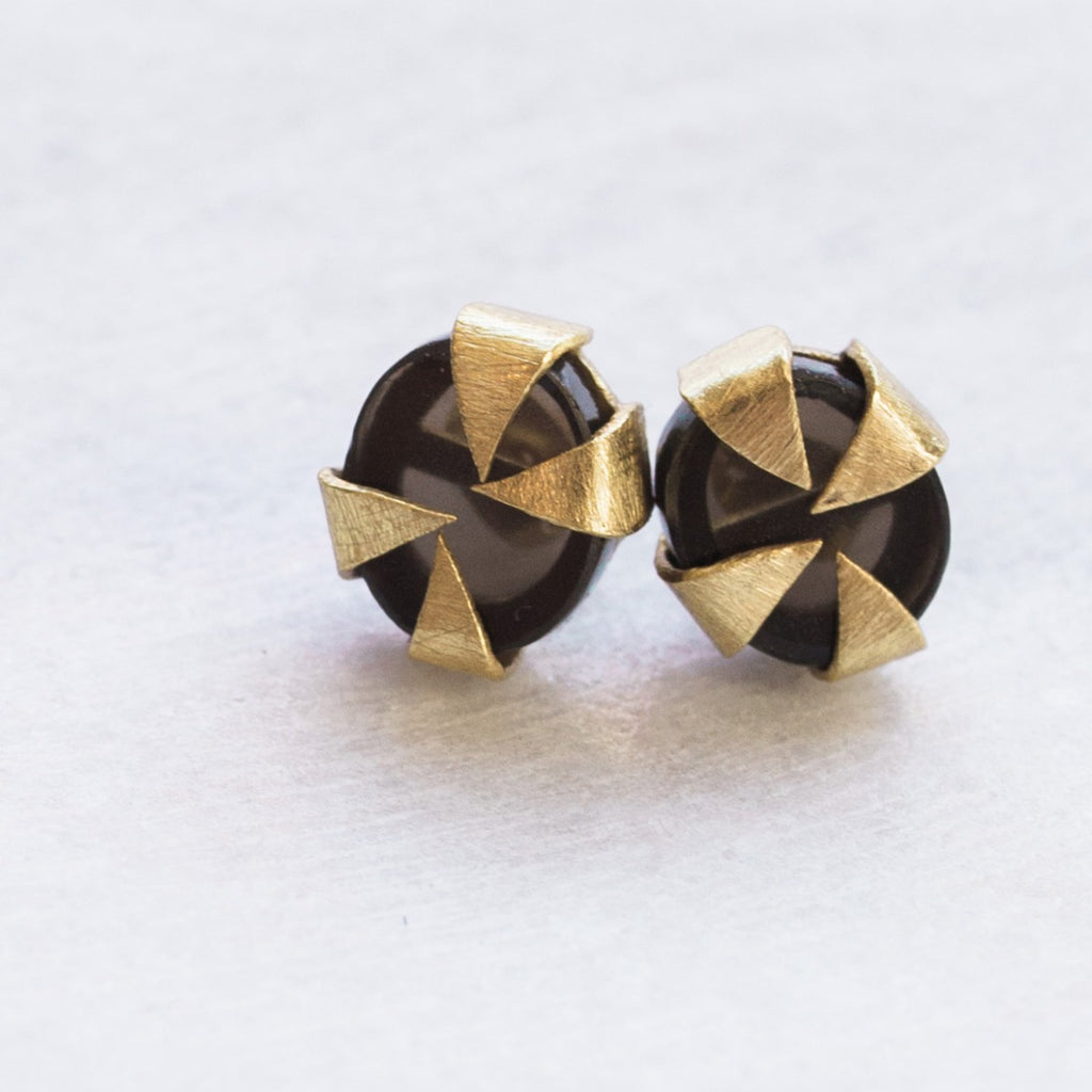 Java Stud Earrings - Black Oynx