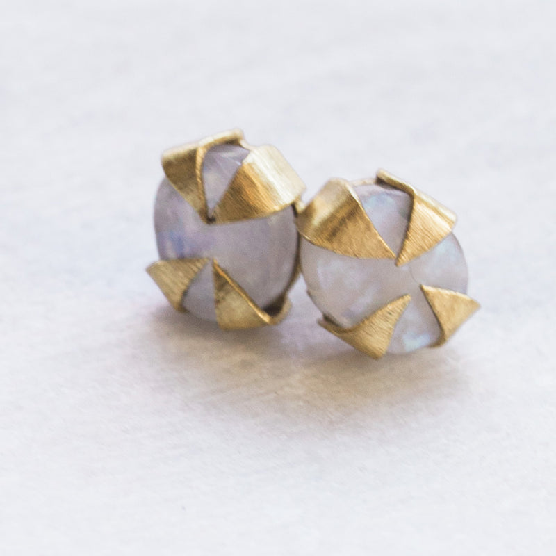 Java Stud Earrings - Moonstone