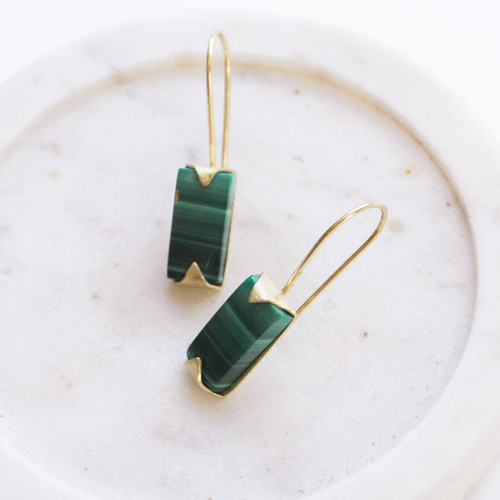 Java Drop Earrings - Malachite