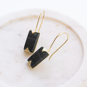 Java Drop Earrings - Black Oynx