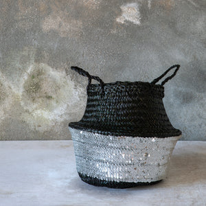 Black Toulouse Sequin Basket - Silver - Small