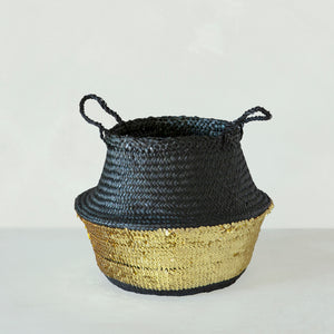 Black Toulouse Sequin Basket - Gold