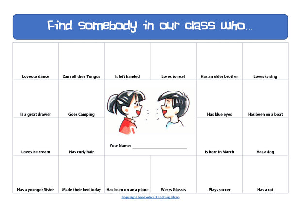Find somebody in our class task ( Back to School Freebie )