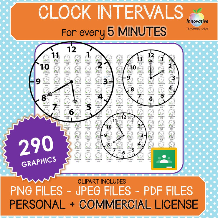 Clock Face / Time Clip Art (5 Minute Intervals) 290 Graphics for commercial use