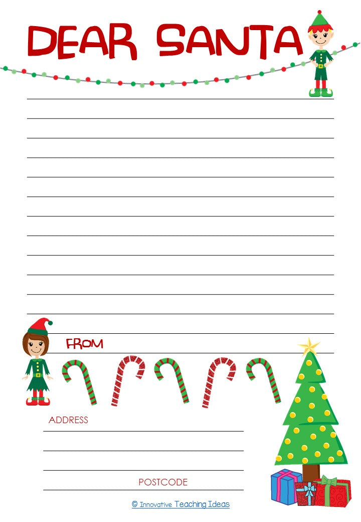 Santa Letter Template for Junior Students