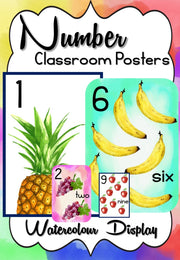 Numbers & Counting Watercolour Posters Teaching Resource