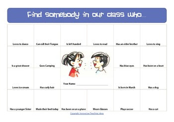 "Editable ""Find Somebody Who"" Icebreaker (Back to School)"