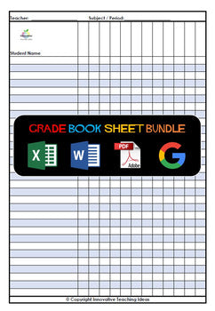 Grade Book Sheets for Excel, Google Sheets and Word (Editable)