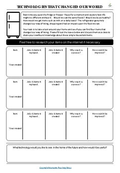 Game changing technologies worksheet