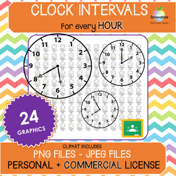 FREE Clock Face / Time Clip Art (HOURLY Intervals) for COMMERCIAL use