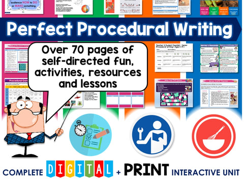 Perfect Procedural Writing Unit ( Self Directed Digital & Print Modules ) Teaching Resource
