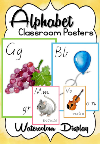 Watercolor Alphabet Posters (Us Uk Intl. English) Ela White Background Teaching Resource
