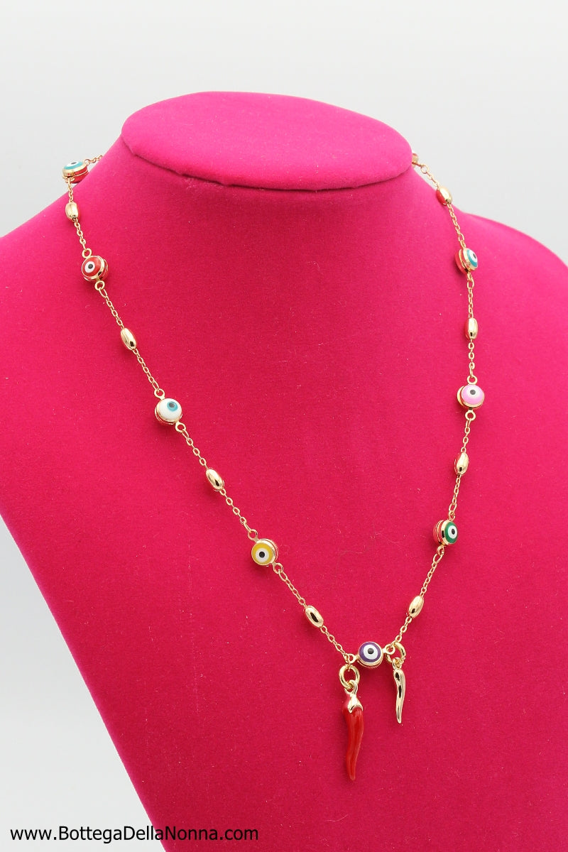 The Evil Eye (Malocchio) Capri Cornicello Necklace - Yellow Gold