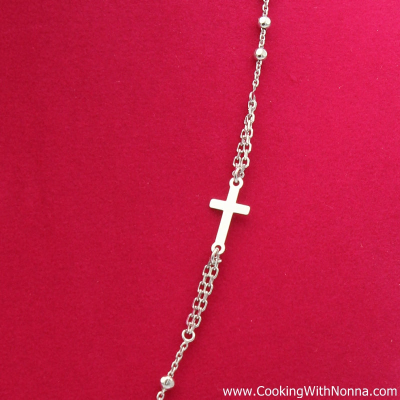 Ave Maria Silver Rosary Necklace - White Gold Plated - Final Sale