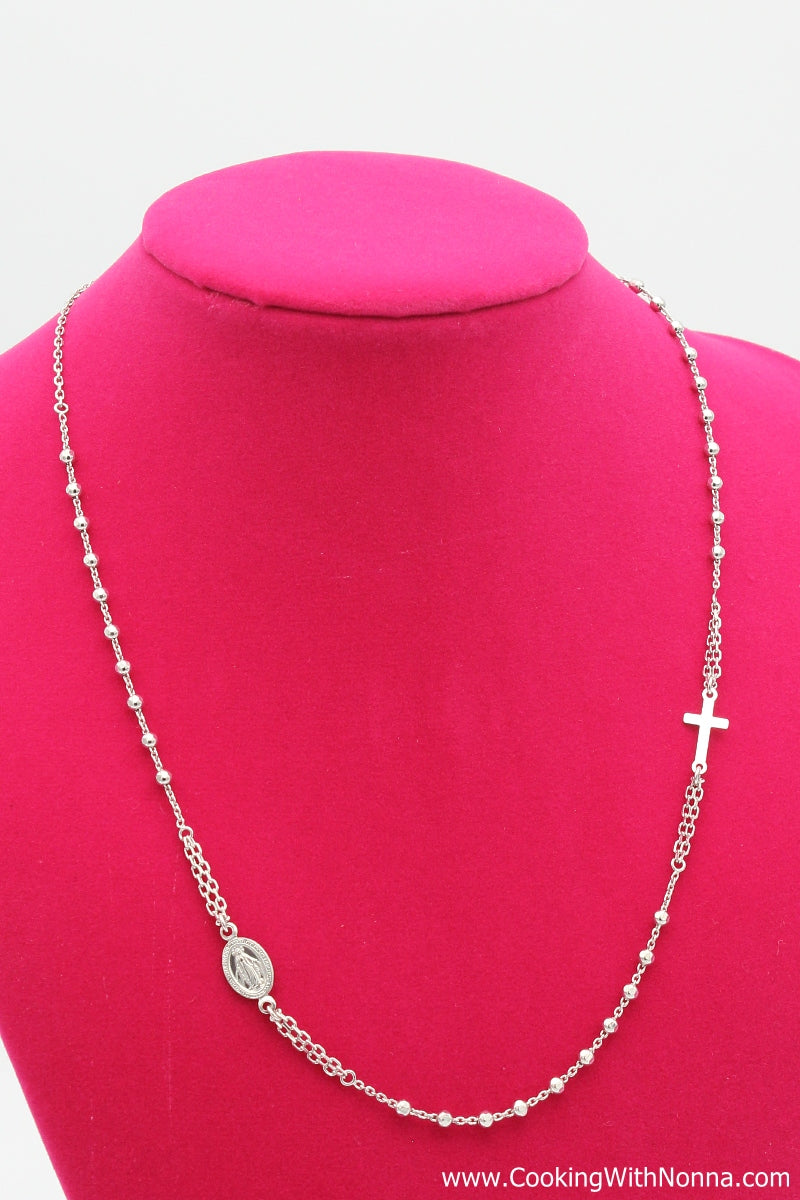 Ave Maria Silver Rosary Necklace - White Gold Plated